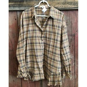 NWT Button-down Boutique Brand Plaid Tunic